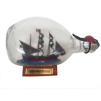 Wooden Blackbeard's Queen Anne's Revenge Pirate Ship in a Glass Bottle 7""