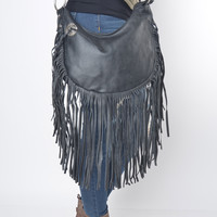 Black Vegan Leather Fringe Bag