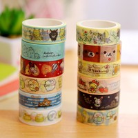 1Pcs Cute Rilakkuma Sentimental Circus Washi Tape Masking Tape Decoration DIY Sticky Self Adhesive Tape Scrapbook Tape 5M M0284