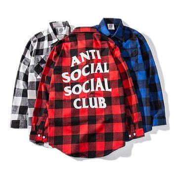 ANTI SOCIAL SOCIAL CLUB Street Tide brand retro wild plaid back letter loose long sleeve shirt