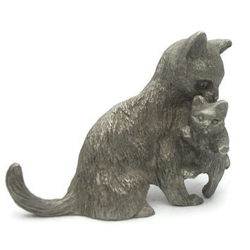 Vintage Spoontiques Pewter Cat and Kitten Figurine Mother and Baby Animal Collectible Miniature Knick Knack