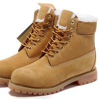 Timberland Rhubarb Boots Keep Warm 18027 Yellow For Women Men Shoes Waterproof Martin Boots