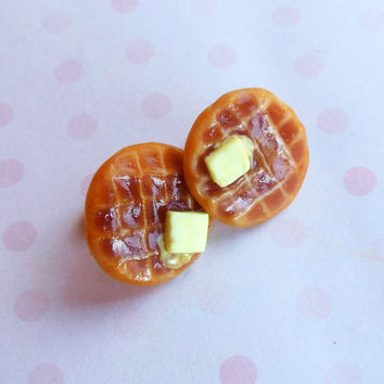 polymer clay buttery waffle earring
