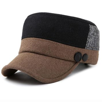New Fashion Men Baseball Caps with Ear Flap Two Tones Patchwork Flat Top Wool Felt Hats Male Warm Winter Hats Dad Hats