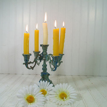 Shabby Chic Chippy Paint Brass Standing Candelabra - Vintage Gothic Patina Style 5 Tapers Holder - 2 Level Metal Candle Stick Center Piece