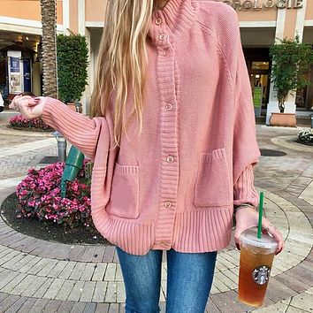 Mock Neck Batwing Sweater Cardigan Whth Pockets