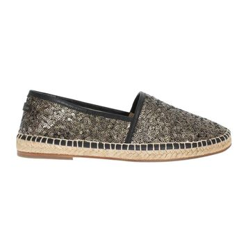 Dolce & Gabbana Black Gold Sequined Loafers Espadrilles