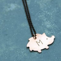 Hedgehog / Hand Stamped Personalized Necklace Copper Charm Pendant