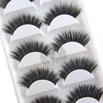 False eyelashes 5 pairs Luxurious 3D False Eye lashes Cross Natural Long Thick Lashes Beauty Women Makeup Decorative Cosmetic