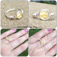 Yellow ring, crackled glass, silver plated, nickel free, wire wrap, custom size