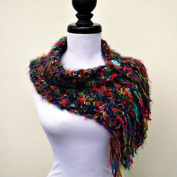 Crocheted Rainbow Cowl Rainbow Scarf - Scarflette Cowl in Metropolis - Womens Scarf Womens Cowl Womens Accessories - Ready To Ship