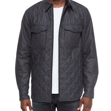 Long-Sleeve Quilted Shirt Jacket, Dark Gray, Size: