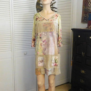 Hippie Dress Indie Clothes Shabby Boho Bohemian Chic Size XL Upcycled Layered Tshirt Dress Festival Cowgirl Recycled