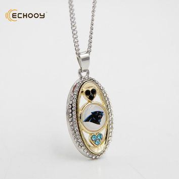 woman classic jewelry Personalized Carolina Panthers Pendant Necklaces Custom football team logo necklace Bridesmaid Gift