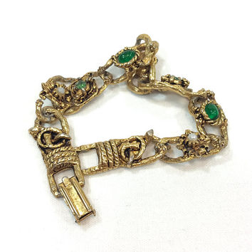 LJM Thin Gold Link Bracelet, Flowers & Pearls, Green Cabs Rhinestones, Textured Goldtone, Renaissance Revival, Vintage 1960s Fashion Jewelry