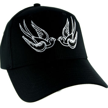 White Swallow Sparrow Birds Hat Baseball Cap Alternative Clothing Rockabilly Tattoo Symbol