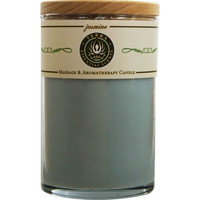JASMINE & YLANG YLANG by Terra Essential Scents MASSAGE & AROMATHERAPY SOY CANDLE 12 OZ TUMBLER. A SOOTHING & SPIRITUAL BLEND WITH RHODOCHROSITE GEMSTONE. BURNS APPROX. 30+ HOURS