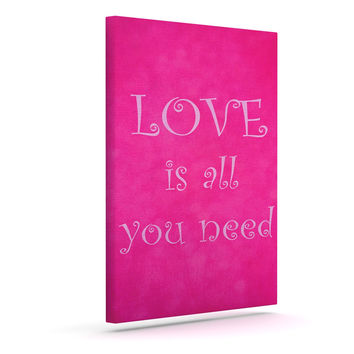 "Iris Lehnhardt ""Love is all you need"" Quote Pink Outdoor Canvas Wall Art"