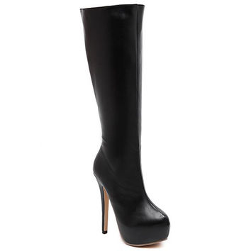PU Leather Mid-Calf Boots With Stiletto Heel