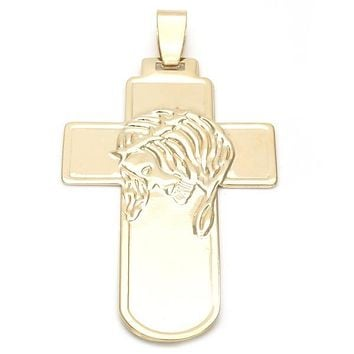 Gold Layered 05.16.0218 Religious Pendant, Cross and Jesus Design, Polished Finish, Golden Tone