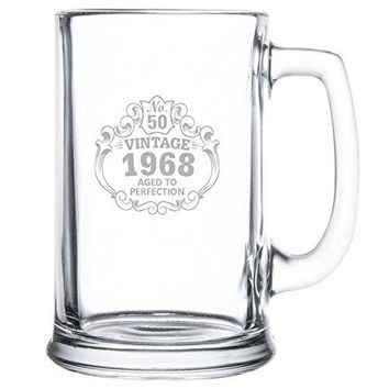 Beer Mug bull 50th Birthday Vintage 1968 Aged to Perfection Engraved bull 15oz bull Great Gift for Father bull Grandfather bull Husband bull Son bull Friend