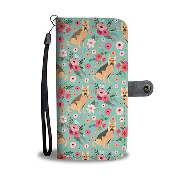 German Shepherd Flower Wallet Phone Case