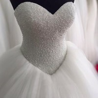 New Sleeveless Bling Bridal Wedding Dress with Beads Custom Size 0 2 4 6 8 10 12