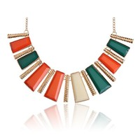 Tribal Collection Necklace Chunky Orange Green and Gold
