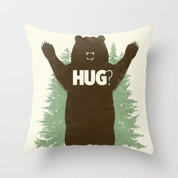 Bear Hug? Throw Pillow by Matthew J Parsons | Society6