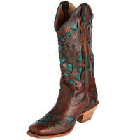 Women's Twisted X Square Toe Brown and Turq Steppin Out Cowgirl Boots