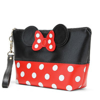 New Fashion Dot Bow Portable Makeup Bag PU Travel Organizer Cosmetic Bag Travel Trace Excellent Quality Wash Toiletry Bag