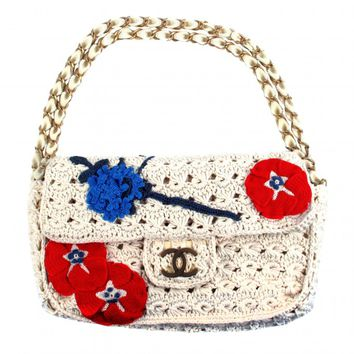 Chanel Knit Camellia Bag - Crochet Chain CC Gold Suede Handbag 10P