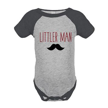 Boys Littler Man Onepiece - Mustache Grey Raglan Onepiece - Big Man Little Man - Big Brother Little Brother Outfits - Happy Fathers Day Gift