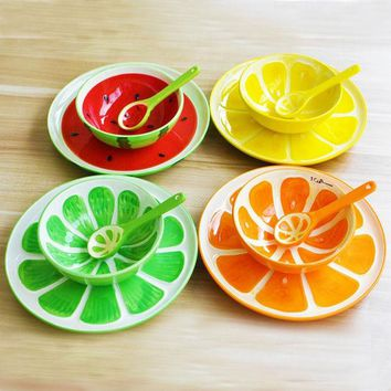 ONETOW 3pcs/ Glazed hand-painted ceramic fruit plate spoons bowl fruit plate creative home dishes