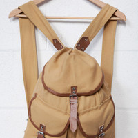 Canvas Rucksack In Tan With Leather Trim