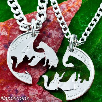 Cat and Dog Interlocking Necklaces, hand cut coin
