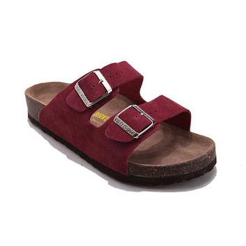 Birkenstock Arizona Sandals Suede Dark Red - Ready Stock