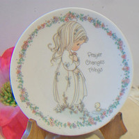 Vintage Precious Moments Plate Prayer Changes Things 1993 Enesco Collectible Girl Duck