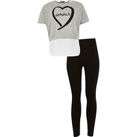 River Island Girls grey chiffon top and leggings set