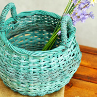 Upcycled Shabby Chic Painted Basket Wicker Cottage Chic Rustic Home Decor Teal and Gray Distressed Painted