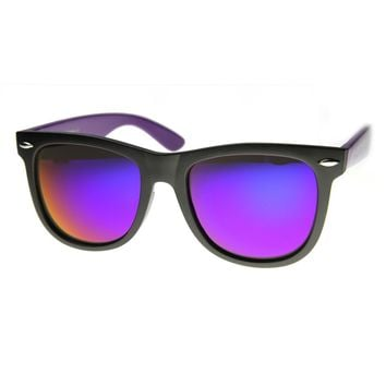 Large 2-Tone Flash Mirror Horn Rimmed Sunglasses