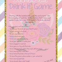 Printable bachelorette game / bachelorette drinking game / drink if game / unicorn bachelorette game / take a sip game / hen party game