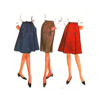 1960's McCall's 7498 Wrap, Straight, and Flared Six-gore Skirt Size 34 Waist    Waist 34in/ 86cm    Vintage Sewing Pattern