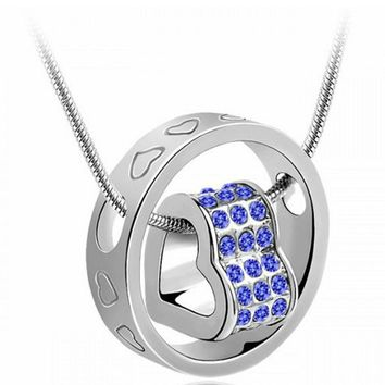 Women Crystal Chain Rhinestone Necklace Love Heart Pendant love carving Pendant Necklace
