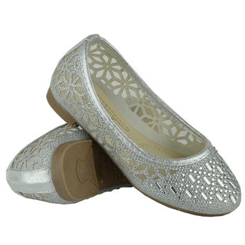 Kids Ballet Flats Lace Mesh Rhinestone Accent Casual Slip On Shoes Silver SZ
