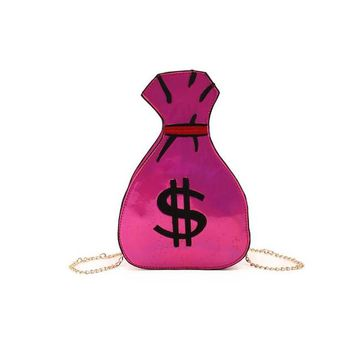 $ One of Kind $ Original Money Bag $ Crossbody/Satchel Over Shoulder Chain/ Lots Slots Inside! For CellPhone/Keys and More! Hot Pink