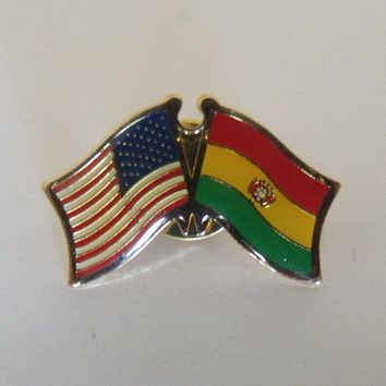 Bolivia Flag And USA Lapel Pin Crossed Friendship Pin Bandera