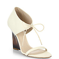 Burberry - Norwood Leather Wedge Sandals - Saks Fifth Avenue Mobile