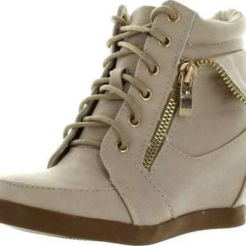 JJF Shoes Peter Kids Fashion Leatherette Lace-up High Top Wedge Sneaker Bootie