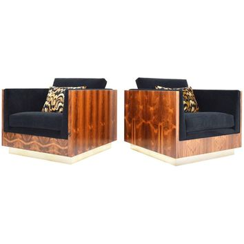 Pair of Rosewood Case Milo Baughman Lounge Chairs